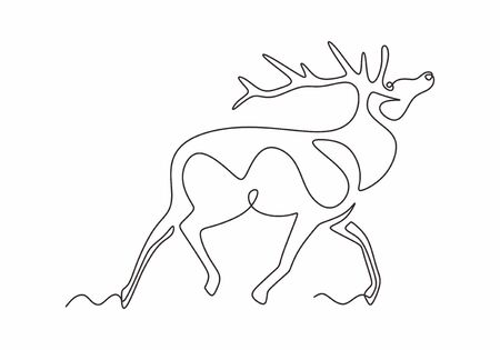 One line design silhouette of deer. Reindeer animal winter hand drawn single continuous line minimalism style. Vector illustration.