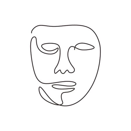 Continuous one line drawing of abstract face minimalism
