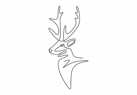Deer mascot one line drawing minimalism vector animal winter.