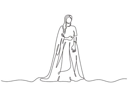 Continuous one line drawing of Indian woman with traditional dress. Vector woman with cultural theme of India country. 向量圖像