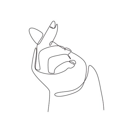Continuous one line drawing of korean fingers hand symbol of love