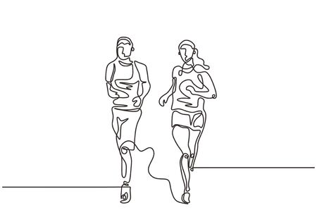 Continuous one line drawing of couple running minimalism. Sport theme vector illustration simplicity style.