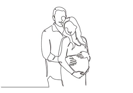Continuous one line drawing of happy couple portrait. Concept of people of man and pregnant woman. 向量圖像