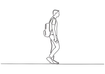 Continuous one line drawing of man walking on the street. Concept of student college person with bag. 向量圖像
