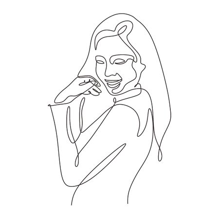 Continuous one line drawing of cute girl minimalism abstract sketch hand drawn design vector illustration.