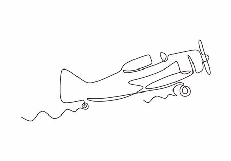 Continuous one line drawing of aircraft or jet airplane. Vector minimalism design simplicity style.