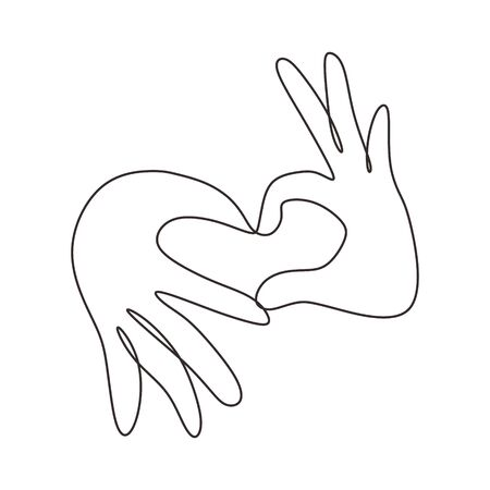 Continuous one line drawing of Love sign symbol from fingers hands.