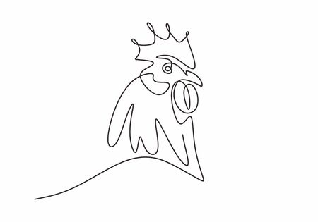 Rooster one line drawing vector. Minimalism design of cock animal illustration. Hand drawn sketch design of chicken good for tattoo or poster.