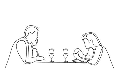 Continuous one line drawing of romantic dinner of couple dating. Romance and love moment of beauty girl and handsome man sitting on the table with glass of wine.