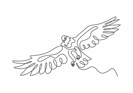Continuous one line drawing of eagle or hawk bird vector, Illustration minimalism birds flying on the sky. Concept of freedom animal hand drawn sketch design. Simplicity style. Illustration