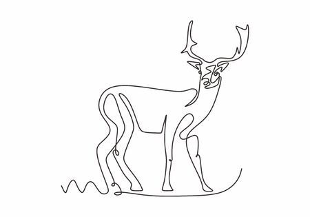 One line design silhouette of deer. Continuous hand drawn minimalism style.vector illustration. 向量圖像