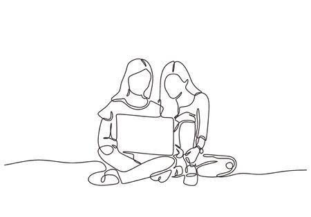 Continuous one line drawing of two girl with laptop. Young women doing work and discussion.