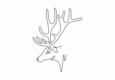 Deer mascot one line drawing minimalism vector animal winter.