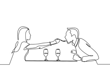 Continuous one line drawing of romantic couple dinner with table, food, and wine. Vector metaphor of love, dating, and restaurant.