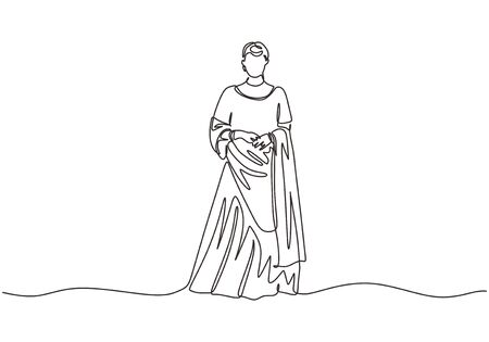 India woman with traditional dress or gown. Continuous one line drawing minimalist design.