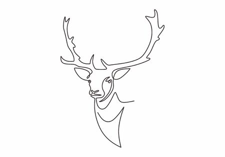 Continuous line drawing of reindeer head vector. Winter animal mascot hand drawn sketch minimalism design. One single lineart simplicity style. Illustration