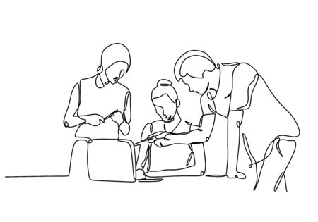 Continuous one line drawing of People discussion. Concept of business talk or briefing and conversation of a man and two women at company.