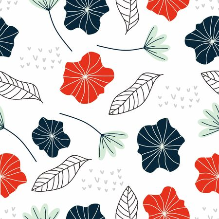 Seamless pattern of flower and leaf vector illustration pretty hand drawn scandinavian botanical drawings.