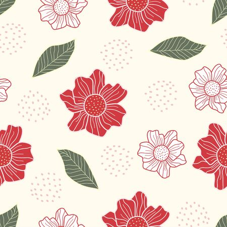 cute flower pattern seamless hand drawn simple design. Vector ready for fabric print. 向量圖像