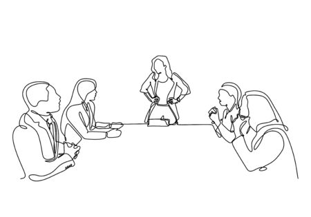 .Continuous one line drawing of company meeting with woman as a leader vector. Single minimalism sketch hand drawn concept of business meet up of people sitting make a discussion of strategy. Illustration