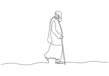 Continuous one line drawing of arabic man walking on the street. Old person wearing thawb or Kandoora, Dishdasha, Khamiis , and Qamiis. Vector minimalism. 向量圖像
