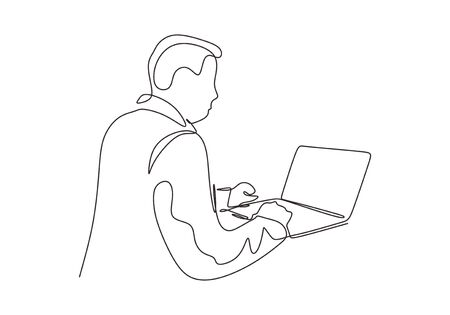 Continuous one line drawing of man working on laptop. Vector person doing his job with gadget. Illustration