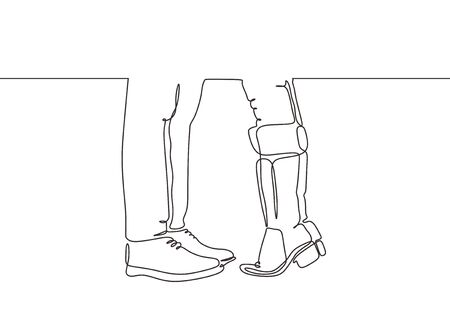 Continuous one line drawing of couple legs symbol of kissing. Metaphor of romantic moment between man and girl. Vector minimalism creative and simplicity style.
