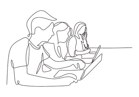 Continuous one line drawing of creative workers work at office. People sitting with laptop. Concept of business worker. Illustration