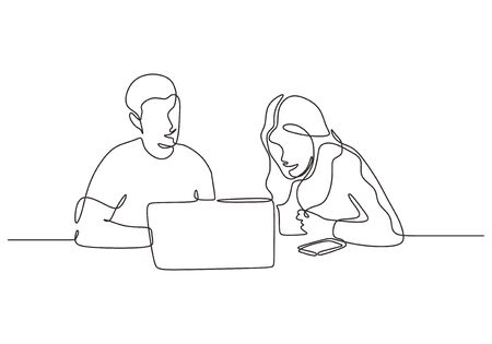 Continuous one line drawing of business concept. Man and woman sitting with laptop. Creative work of discussion, client meeting, creative thinking and strategy. Иллюстрация