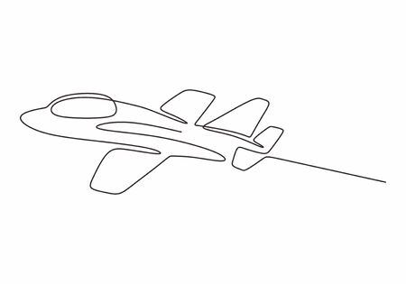 Continuous line drawing of airplane. Vector minimalism design simplicity style. Jet aeroplane hand drawn sketch.