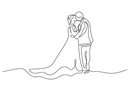 Continuous one line drawing of happy couple in marriage. Man and woman wearing wedding dress kissing and blessing happiness moment.