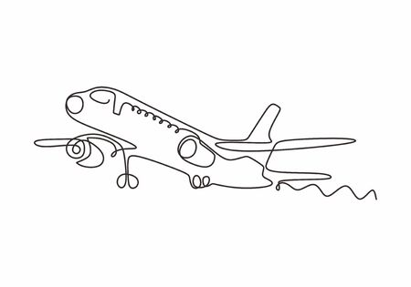 Airplane one line drawing minimalism design vector illustration. Continuous single sketch lineart simplicity style.