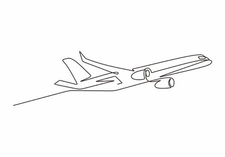 Airplane one line drawing minimal design. Vector illustration minimalism style.