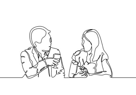 Continuous one line drawing of couple dinner. Concept of man and woman meet and drinking wine during romantic moment.