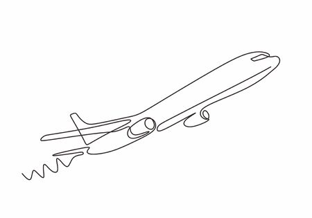 Airplane continuous line sketch. Vector one hand drawn minimalism design. 向量圖像
