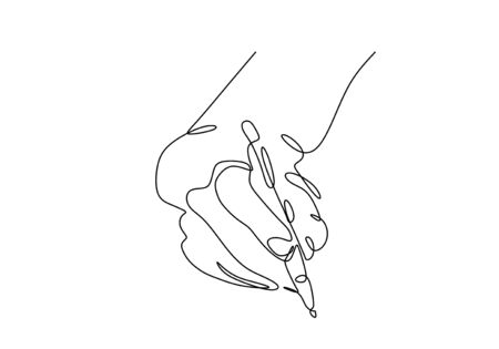 Continuous one line drawing of hand writing. Person holding a ink pen or pencil minimalism design vector illustration. Simplicity sketch hand drawn lineart style.