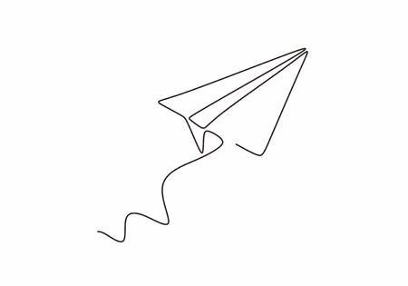 Continuous line drawing of paper airplane. Craft plane business metaphor hand drawn sketch minimalism and simplicity style.