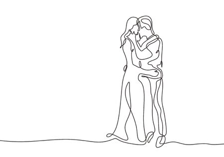 Continuous one line drawing of couple kissing vector. Romantic people minimalism abstract hand drawn illustration simplicity design. Illustration