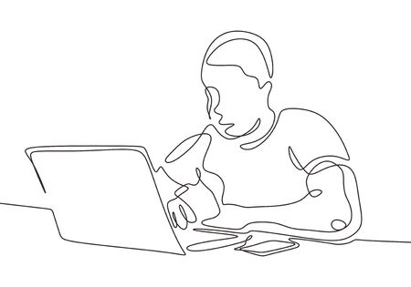 Continuous one line drawing of man with laptop. Person sitting and thinking. 向量圖像