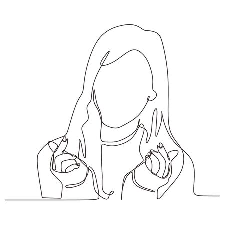 Continuous one line drawing of Beauty women sketch hand drawn vector illustration minimalism. Portrait of cute girl with love korean fingers hand sign. Illustration