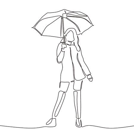 Continuous one line drawing of woman holding umbrella