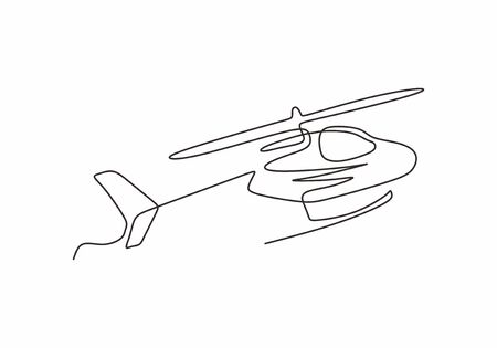 Helicopter continuous one line drawing minimalism vector. Transportation vehicle theme design single sketch hand drawn. 向量圖像