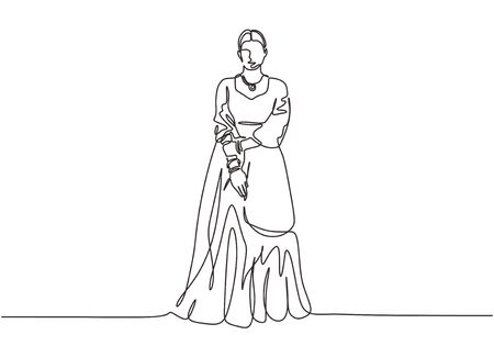 Continuous one line drawing of Indian woman with traditional dress. Vector woman with cultural theme of India country. Illustration