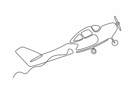 One line drawing of airplane. Vector minimalism design simplicity style. 向量圖像