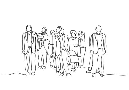 Continuous one line drawing of people after work. Urban commuters concept minimalism design vector illustration. Businessman and businesswoman waiting on the street.