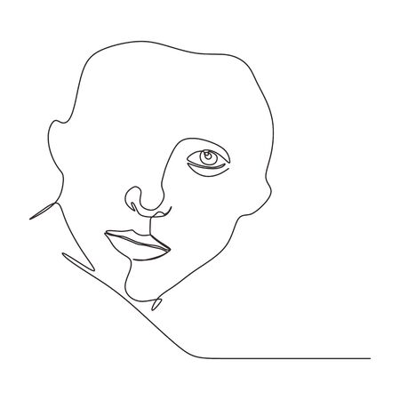 abstract face one line drawing. Portrait minimalistic style continuous hand drawn. 向量圖像