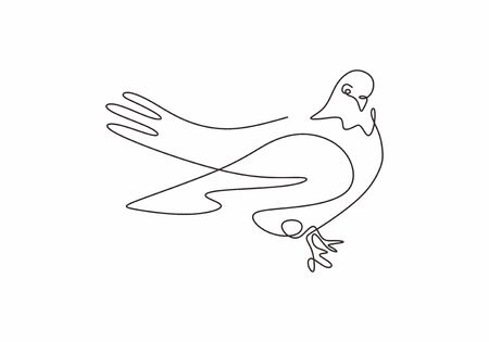 Continuous one line drawing. Pigeon animal bird logo. Black and white vector illustration. Concept for logo, card, banner, poster, and flyer. Minimalism hand drawn sktech.