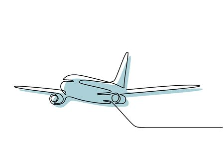 Airplane continuous one line drawing minimal design. Vector minimalism style. 向量圖像