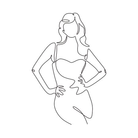 Continuous one line drawing of fashionable and beauty woman. Awesome girl posing minimalism sketch hand drawn single and simplicity design vector illustration.