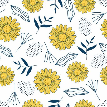 Seamless repeat pattern with flowers and leaves in black and yellow on white background vector illustration. Hand drawn fabric, gift wrap, wall art design ready for fashion textile print. 向量圖像